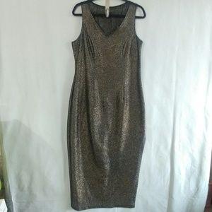 VTG Joseph Ribkoff Metallic Gold Black Dress Gown